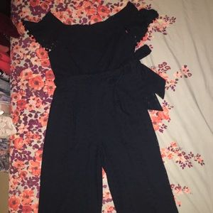 9bfc88a26af Chelsea28 Other - Off the Shoulder Eyelet Pom Jumpsuit